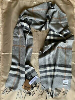 Burberry 100% Cashmere Scarf In Grey 168x30cm BNWT Classic Check • 180£