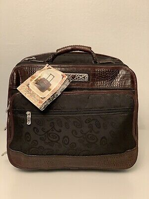 View Details BRIGHTON ROLLING WHEELED SUITCASE Expandable BLACK/BROWN CARY ON • 125.00$