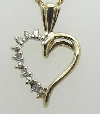 AU63 • Buy Solid 9ct Yellow Gold Natural Diamond Heart Pendant