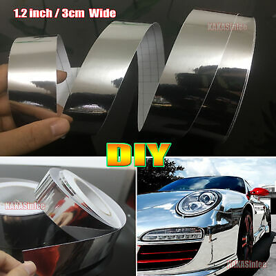 STICKY BACK Car Glossy Silver Mirror Chrome Vinyl Film Wrap Sticker 30mm Wide AM • 1.89£
