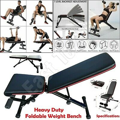 Foldable Weight Bench Adjustable Home Gym Workout Barbell Lifting Fitness Black • 69.95£