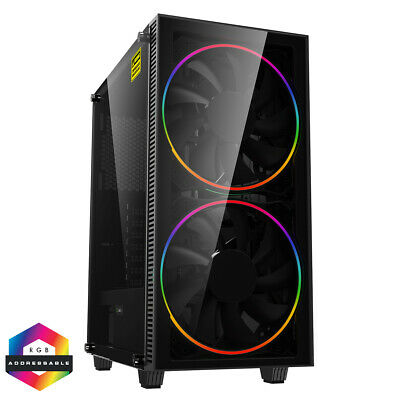 Black Hole Game Max Midi ATX Gaming PC Case 2x 20CM RGB LED Fan Tempered Glass   • 60.79£