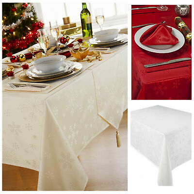 Blizzard Snowflake Christmas Tablecloth Range- 3 Colours- Items Sold Separately • 11.99£