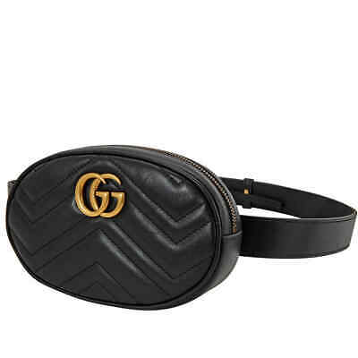 AU1173.60 • Buy Gucci Ladies GG Marmont Matelasse Leather Belt Bag In Black, Brand Size 85 CM