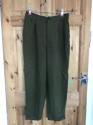 Woman's Ladies Zara Khaki Green Cropped Stretchy Relaxed Slim Trousers Size M 10 • 8£
