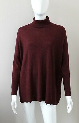 N.PEAL NPEAL Plum Burgundy 100% Cashmere Jumper Sweater Turtleneck Medium • 178£