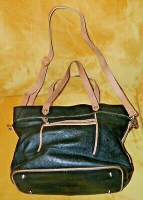 M&S Autograph Black & Tan Leather 2-Way Tote/Shoulder Bag*VGC*FREE POSTAGE!!! • 29.99£