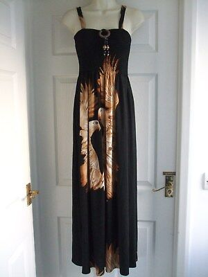 K. Womens Fit Size 10 Black Brown Maxi Dress LADIES SUMMER SMART STRETCH WORK • 11.86£
