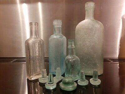 Interesting Antique Bottles And Six Glass Stoppers. Patterson's Of Glasgow • 0.99£