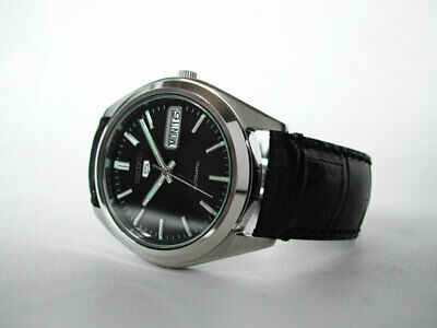 Seiko 5 Automatic Stainless Steel Black Dial Watch SNXS79K Leather Strap • 85£