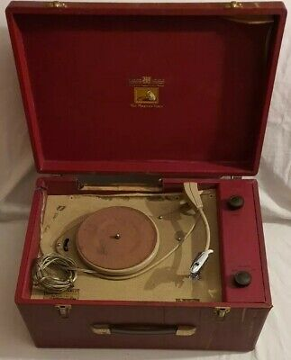 Vintage Hmv Record Player In Case, Carry Box Spares Repair Project • 13.50£