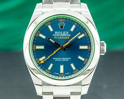 $ CDN12630.87 • Buy Rolex 116400 Milgauss SS Blue Dial Green Crystal WITH BOX AND PAPER!