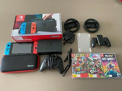 AU412.25 • Buy Nintendo Switch+3 Games+2 Wheel Controllers+wired Controller Hac-001