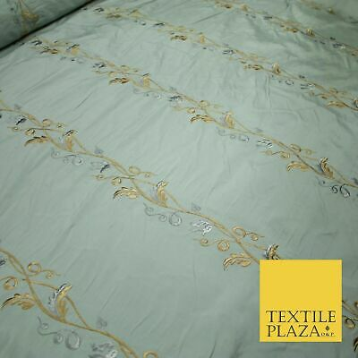 Luxury Duck Egg Blue Floral Stripes Embroidered 100% PURE SILK Fabric 55  4660 • 22.99£