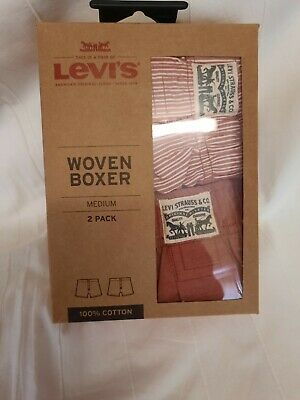 Mens New Levis Cotton Boxer Shorts Size Med ,34/36 Inch Waist 2 Pack • 8£