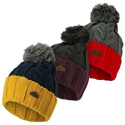 £6.99 • Buy Men's Heat Machine Warm Winter Cable Knitted Thermal Cuffed Bobble Hat