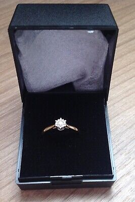 18ct Yellow Gold Diamond Solitaire Ring Size O • 60£