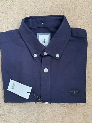 River Island Men Navy Oxford Smart Casual Shirt.Slim Fit Wasp Embroidery Size XS • 10.99£