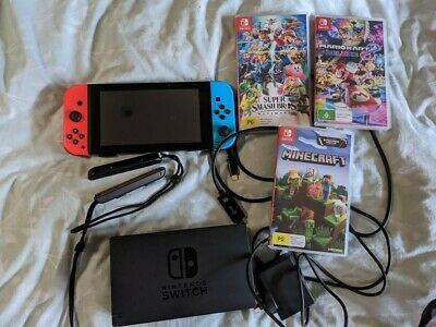AU430 • Buy Nintendo Switch Neon Blue/Neon Red Console + Mario Kart, Mincraft And Smash Bros
