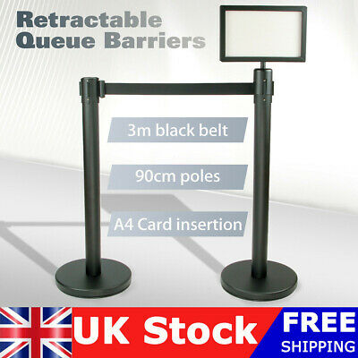 Rremium Quality Stainless Retractable Crowd Queue Control Barrier Posts Uk Stock • 19.90£