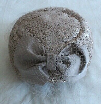 Vintage Mink Pillbox Hat With Bow And Net Vintage Wedding VGC • 6£
