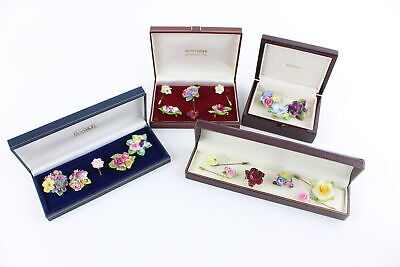 20 X Vintage PORCELAIN BROOCHES Inc. Flowers, Crown Staffordshire, Stick Pins • 16£