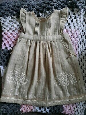 Baby Girl 2-3 Monsoon Gold Beige Warm Dress Christmas Party Winter Immaculate  • 0.99£