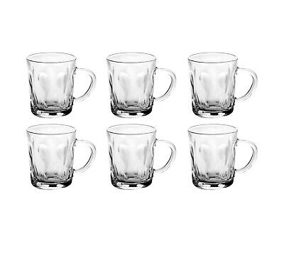 Set Of 6 Coffee Mugs Tea Cups Glass Latte Cappuccino Hot Drink Glass Clear 220ml • 8.99£