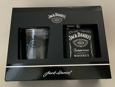 Official Jack Daniels Tumbler Glass And Hip Flask Gift Set - BRAND NEW • 9.99£