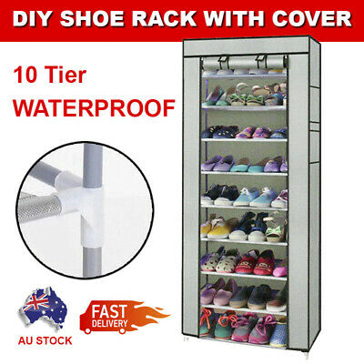 AU17.99 • Buy 10 Tier Shoes Cabinet Storage Organizer Portable Wardrobe Shoe Rack With Cover