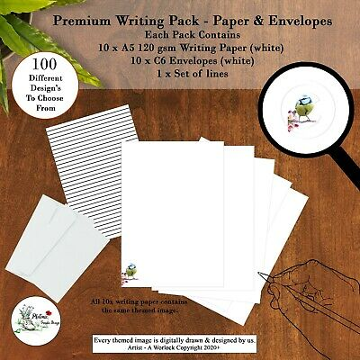 £4.99 • Buy Writing Paper Envelopes & Themed Letter Paper Stationery Pen Pal A5 Premium Pack