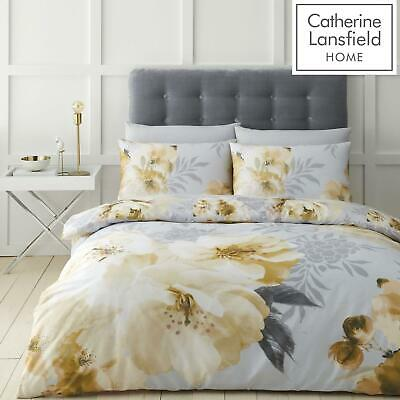 £13.99 • Buy Catherine Lansfield Dramatic Floral Ochre Duvet Covers Sets Free P&P