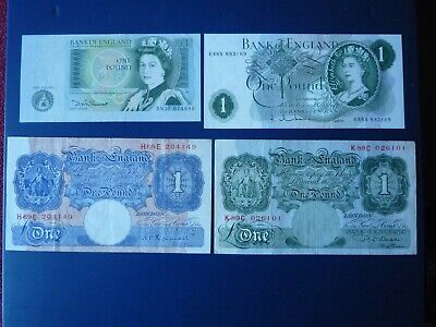 4  £1 Notes. One Pound Note Collection • 10£