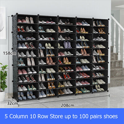 AU79.99 • Buy 100 Pairs 10 Tier Cube DIY Shoe Cabinet Rack Storage Portable Stackable Organise