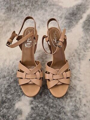 AU395.95 • Buy YSL Tribute Beige Leather Strappy Sandal Heels 100% Authentic Size 37 1/2 GUC