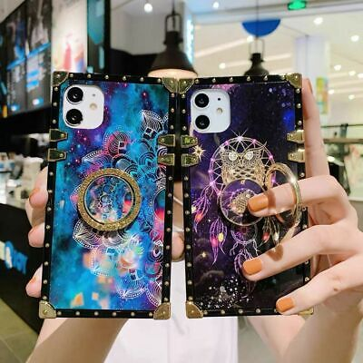 $ CDN13.04 • Buy For Samsung S10+ S20 Note 20U Ring Stand Case Luxury Square Leather Wallet Cover