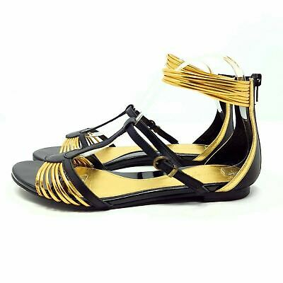 Mellow Yellow Black Gold UK 6 EU 39 Strappy Quirky Gladiator Style Shoes Sandals • 12£