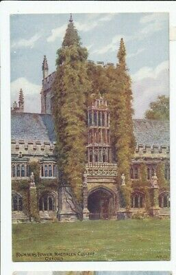 Founder's Tower Magdalen College Oxford A R Quinton Printed Postcard 1350 • 1.20£