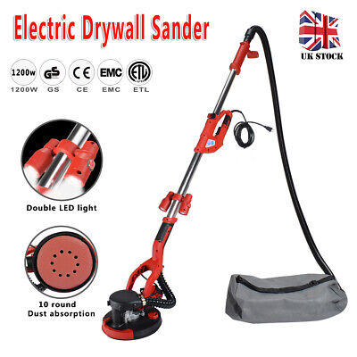 Telescopic Drywall Sander With LED UK Plugs Dust Free Wall Ceiling Dry 1200W • 99£