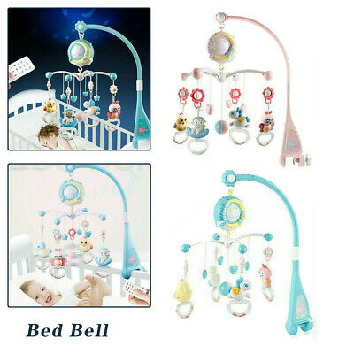 Baby Crib Mobile Musical Bed Bell Toy With Controller Music Night Light Toy UK • 22.99£