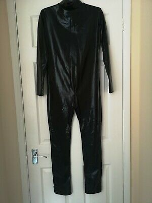 Erotic Black Catsuit With Crotch Zip Size 10 • 10£
