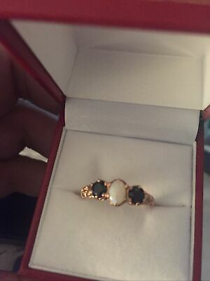 9ct Rose Gold Saphire/opal  Dress Ring   Size Q • 85£