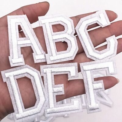 £0.99 • Buy White Letter Patch Patches Sew On / Iron On Alphabet Embroidered Clothes Letters