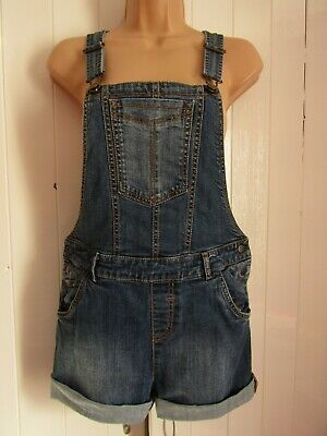 Fat Face Girls Blue Denim Dungaree Shorts - Age 12 - 13 Years • 10£