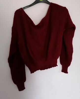 Womens Boohoo Burgundy Off The Shoulder Jumper / Size XL • 10£