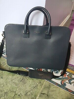 ASPINAL OF LONDON Ladies Black / Blue Leather Mount Street Laptop Bag VGC. • 49.99£