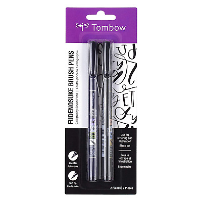 Tombow Fudenosuke Brush Pen Black 2 Set Soft, Hard Type • 7.64£