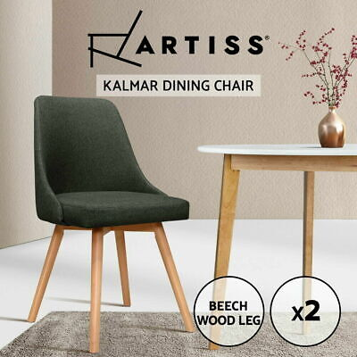 AU123.90 • Buy Artiss 2x Replica Dining Chairs Beech Wooden Chair Cafe Kitchen Fabric Charcoal