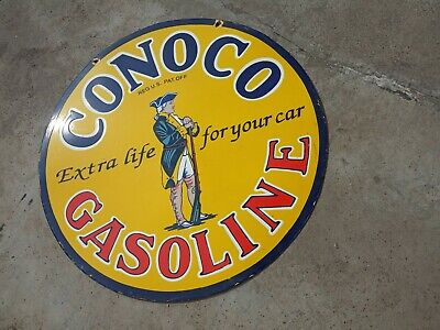 $ CDN107.04 • Buy Porcelain Conoco Gasoline Enamel Sign Size 30  Inches Double Sided
