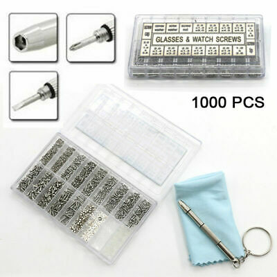 1000pcs Spectacles Sunglasses Glasses Repair Screw Nut Screwdriver Assorted Kit • 0.99£
